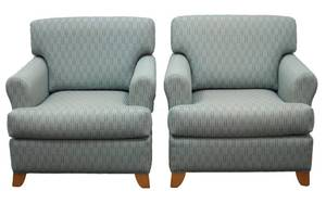 Authentic MARTIN BRATTRUD Pair of Light Blue Classical Rolled Arm Lounge Chairs - Knoll Fabric