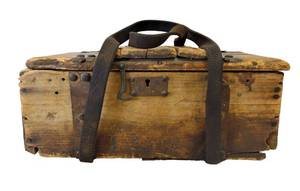 Antique Rustic Wood and Leather Strap Artist Box / Toolbox - Lots of Patina!