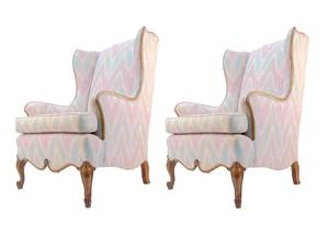 Spectacular PAIR of Wingback Chairs with Wonderful Wood Detailing