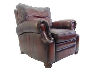 Bernhardt Genuine Brown Leather Recliner with Rolled Arms and Brass Nail Heads