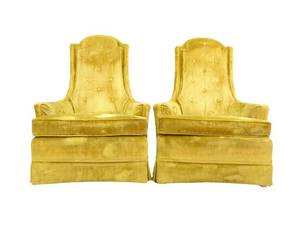 Pair of Broyhill Vintage Mid Century Golden Yellow Velvet High Back Lounge Chairs - Retro - Great