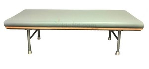 KI FURNITURE KURV Sage Colored Modern Leather Bench with Curved Wood Bottom & Aluminum Legs