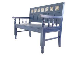 Mexican Style Wood Blue Bench - Perfect for the Patio this Spring!