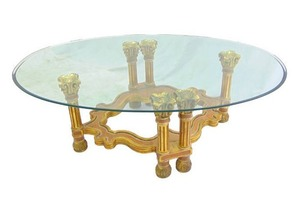 Spectacular Vintage Gold Gilt Italian Style Coffee Table with Thick Glass Top